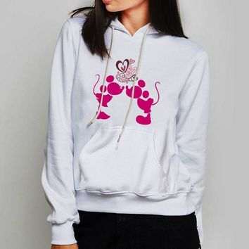Unisex Hoodie Cute Mickey And Minnie Mouse Kiss