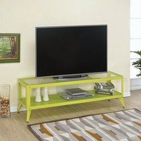 Coller collection retro modern style apple green metal and glass TV console media stand