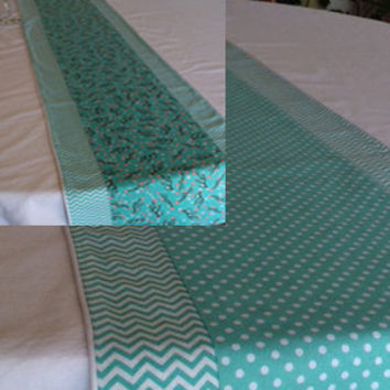 "Reversible Table Runner in Aqua and White with Piping -- Polka Dots, Chevrons, Birds --  70"" x 13"" -- Customizable"