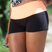 Fold Top Yoga Shorts - Neon Orange/Black