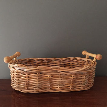 Large Vintage Basket, Rattan Wicker Storage Basket, Natural Color, Modern Rustic Basket with Handles, French Country, Cottage Farmhouse