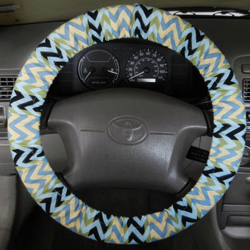 Blue/Yellow Chevron Steering Wheel Cover, Car Accessory, Cute Girly Car Wheel Cover, Made in USA