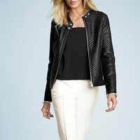 Black Faux Leather Zippered Jacket