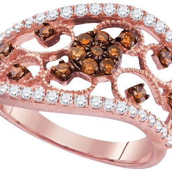 10kt Rose Gold Womens Round Cognac-brown Colored Diamond Filigree Band Ring 7/8 Cttw 104905