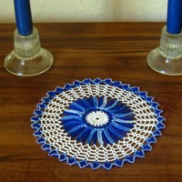 Holiday Crystal Beaded Blue & White Mat - Handmade Decor by RSS Designs In Fiber
