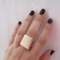 Gold Ring, Wide band ring, Rose gold ring, Adjustable ring, Statement rose gold ring, Gold accessories, Square gold ring, Gold rose jewelry