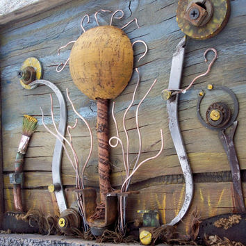 Salvage Wildflower Collection, Assemblage art on reclaimed wood