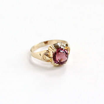 Vintage Art Deco 10k Yellow Gold Simulated Amethyst OB Ring - 1930s Ostby & Barton Size 3 Purple Glass Repousse Design Fine Stacking Jewelry