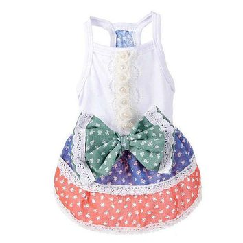 PEAPON New Small Dog Dress Summer Pastoralism Princess Skirt Dresses Poodle Yorkshire Clothing Dogs Costumes Dog Dress Dots BS
