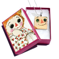 Raggedy Ann and Andy Pendant Necklace, Upcycled Vintage Story Book