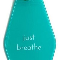 Just Breathe Hotel/Motel Style Keychain in Tiffany Blue and White