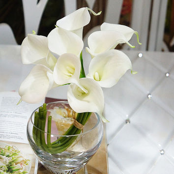 2 Bouquets Of White Lily Bouquet Real Touch Callas Lilies For Bridal Bridesmaids Fake Floral Wedding Decor, Centerpieces