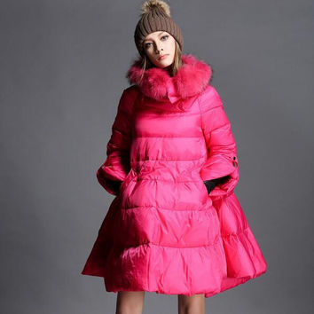 2017 winter new European Style women fashion raccoon fur collar temperament Large swing down jacket outwear T827