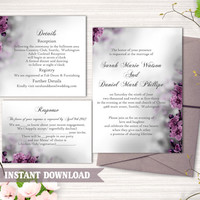 DIY Wedding Invitation Template Set Editable Word File Instant Download Printable Invitation Eggplant Wedding Invitation flower invitation