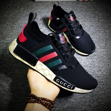 ONETOW Gucci x Cucci x Adidas Consortium NMD R1 Black Red Green Boost Sport Running Shoes Classic Casual Shoes Sneakers