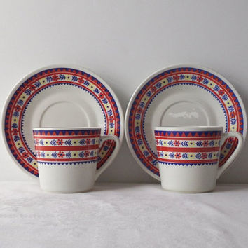 Mid Century Arabia Finland Cups and Saucers, Red & Blue Geometric Floral Bands, Set of 2, Vintage Scandinavian Kitchen Decor