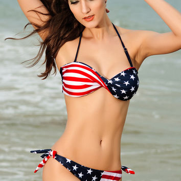 Ameican Flag Twist Bandeau Bikini Set