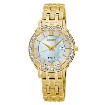 Seiko Womens Solar Classic Diamond Dress Watch - Gold-Tone - Mother of Pearl