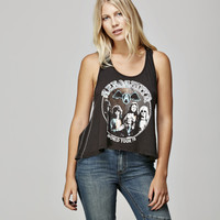 Show off how much you loved the Aerosmith in this super and cool braided knotted back strap detailing tank top with World Tour '78 group image at front, buttery soft light weight supima cotton, it's fit and flare construction, sleeveless and finish with as