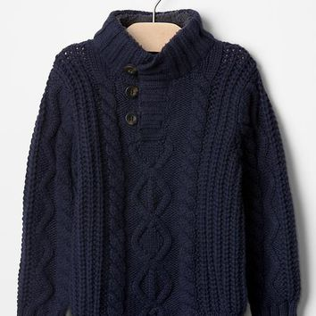 Gap Baby Sherpa Mockneck Cable Sweater