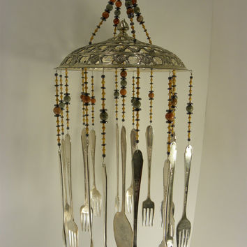 Wind chime with re purposed vintage silver plated flatware - earth tones