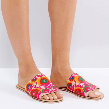 ASOS FORT Embroidered Mules at asos.com