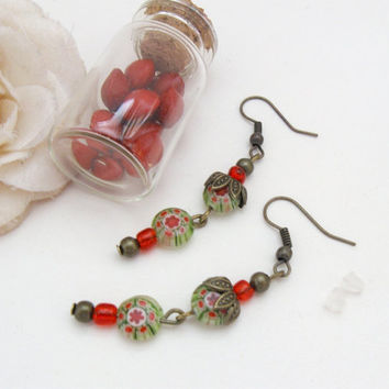Millefiori bronze earrings with green and red flower beads by PragueVintage
