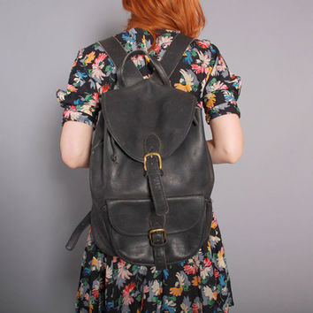 90s Black LEATHER BACKPACK / 1990s Oversized Daypack PURSE