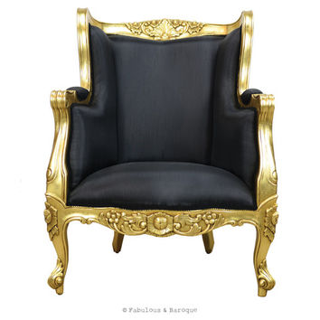 Fabulous and Baroque — Aveline French Wing Back Chair - Gold Leaf & Black