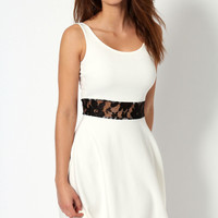April sleeveless skater dress with lace waist band