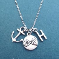 Personalized, Letter, Initial, Alphabet, Pinky, Promise, Nautical, Marine, Anchor, Silver, Necklace, Gift, Jewelry