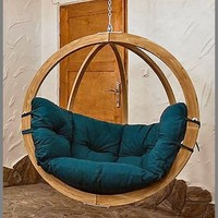 Globo Wooden Single Hanging Pod Chair - Green