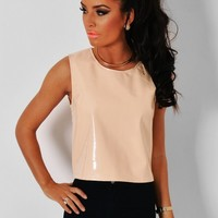 Cup Cake Nude PVC Scoop Neck Crop Top | Pink Boutique