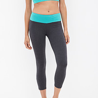 FOREVER 21 Colorblocked Yoga Capris Charcoal/Jade X-Small