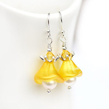 Yellow earrings sunny bright glass flowers on by MayaHoney