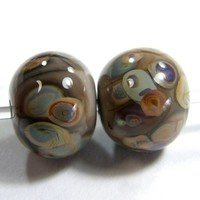 Mudslide Brown Handmade Lampwork Glass Bead Raku Dots Jewelry Supplies
