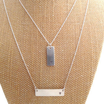 Nameplate Necklace, Sterling Bar Necklace, Dainty Bar Necklace, Monogram Necklace