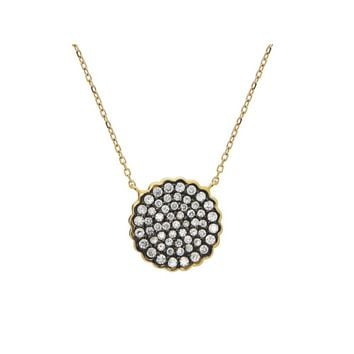 Black & Gold Plated Sparkling CZ Sun Pendant Necklace in Sterling Silver