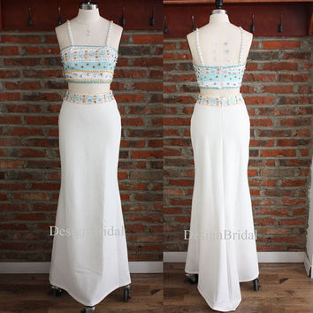 Beaded Long Evening Dress,New Fashion Spaghetti Straps Two-Piece Dress,Space Cotton Long White Dress,Wasit Revealing Formal Dress