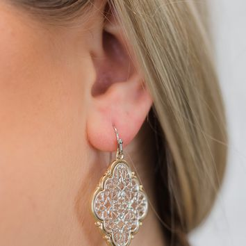 Classy Design Pendant Earrings- Silver with Gold