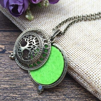 Aromatherapy Necklace in Copper with Tree of Life Pendant