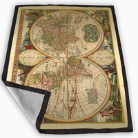Vintage World Map Special Blanket for Kids Blanket, Fleece Blanket Cute and Awesome Blanket for your bedding, Blanket fleece **