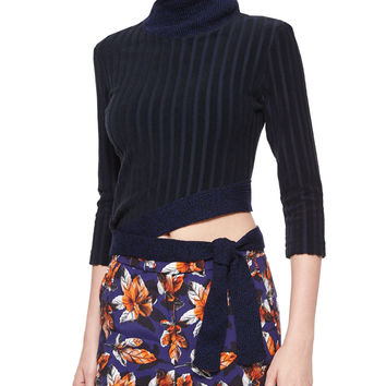 Angled Tie-Waist Ribbed Sweater, Size: