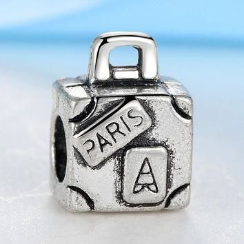 New Silver Plated Bead Charm European Vintage Paris Suitcase Beads Fit Women DIY Pando