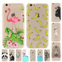 Soft TPU case For Apple Iphone 5 5s 6 s 6s 7 Plus case Silicon fruit Banana Flamingo Cute Panda Cat Dolphins Cases back cover