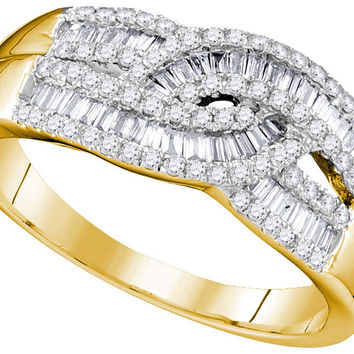 10k Yellow Gold Womens Round Baguette Diamond Cocktail Band Ring 5/8 Cttw 110211