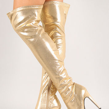 Metallic Almond Toe Stiletto Thigh High Boot