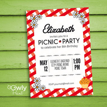 Printable Personalized Picnic Birthday Invitation. Ready to print Picnic Birthday Invitation. PDF  Birthday Invitation,