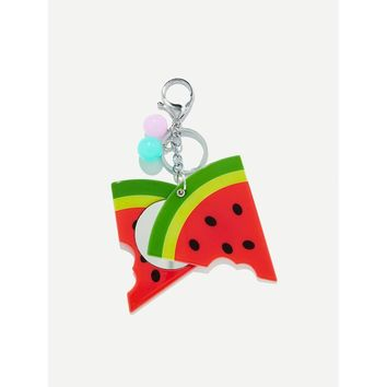 Random Color Ball Watermelon Shaped Keychain