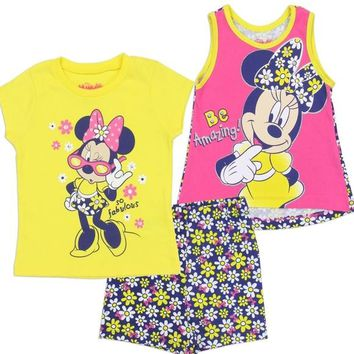 Pink & Yellow Minnie Mouse Girls 3-Piece Set. Shirt, Tank & Shorts